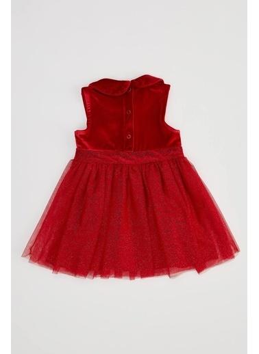 DeFacto Kız Çocuk Kadife Kolsuz Elbise Kırmızı